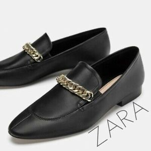 Zara black chain loafers